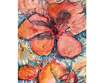 Flower painting print ,abstract landscape,abstract Flower painting, flowers, abstract panting, salmon colored flower print