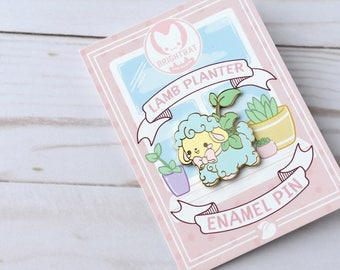 Kawaii Lamb Planter Enamel Pin - ( Cute Vintage Pastel )