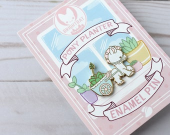 Kawaii Pony Cart Planter Enamel Pin - ( Cute Vintage Pastel )