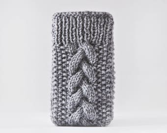 Knitted iPhone 8 Plus Case, Gray iPhone X Case, Handknit iPhone Case, iPhone 6S Case, Gifts for Women, Gray iPhone Sleeve, iPhone 7 Case