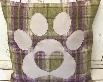 Pawprints and hearts - purple, beige and green wool tartan , large heart and paw cushion
