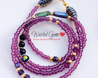 Purple passions waist beads, body chain, waist beads, belly chain, gifts for her, Waistbeads, summer party, purple waist beads, zmw6630