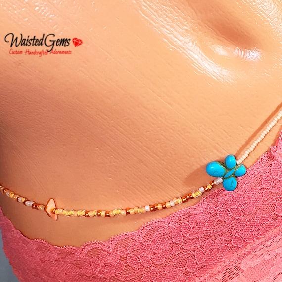 Orange Blast Waist beads,Waist beads, body chain, body Jewelry, belly ring with chain, belly chain, Bikini, African Waist Bead