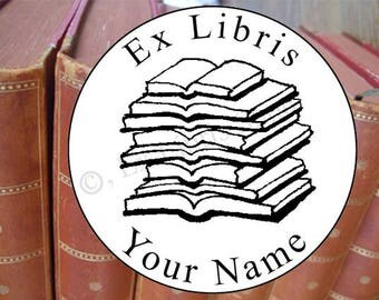 Bookplate stamp •Pile of books•, exlibris stamp, personalized exlibris, library stamp, bookplate stamp, librarian stamp, book stamp, 667