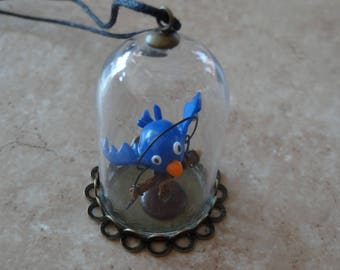 BIRD IN HIS CAGE GLASS PENDANT