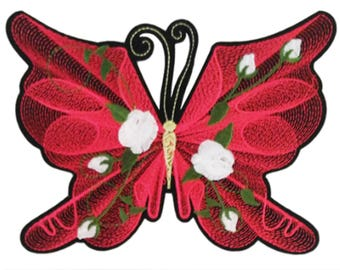 XXL Extra Large 19cm Red Rose Butterfly Patch Badge Applique