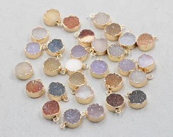 10mm Round Natural Druzy Pendants -- With Electroplated Gold Edge Druzzy Drusy Geode Dainty Charms Wholesale Supplies Handmade YHA-334