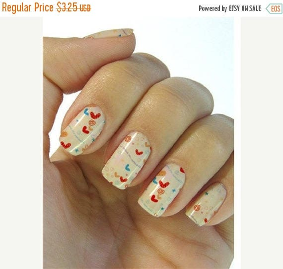 On Sale hearts nail stickers decals nail art water decals