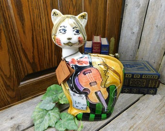 Vintage Limited Edition Turov Violin Musical Cat Statue – Signed and Numbered – Russia
