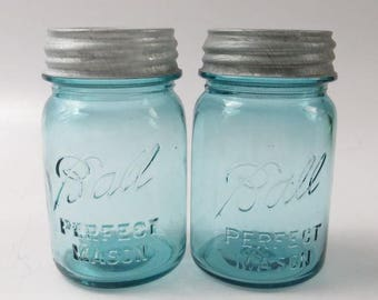 Vintage Blue Ball Pint Jars with Zinc Lids
