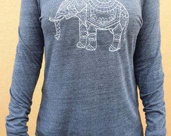 MOVING SALE Elephant Sweater - Embroidered Elephant Sweatshirt -  Eco Jersey Elephant Shirt Women
