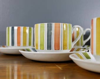 Midwinter Mexicana Cups Saucers Vintage Striped Dishes Retro Tea Set Mid Century Modern Dinnerware Kitsch Kitchen Decor Green Yellow Orange