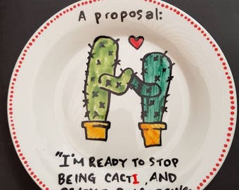 Hand painted Cactus Proposal plate.