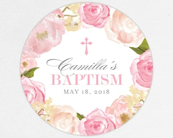 Baptism Favor Tag, Baptism Favor Label, Christening Favor Tag, Christening Favor Label, Cross, Pink, Floral Baptism, Watercolor, Camilla