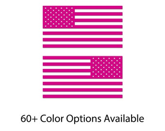 Set of 2 - USA Flags Color Bumper Sticker Decal Distressed