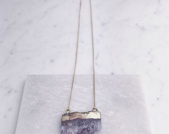 Large Amethyst Slice Necklace