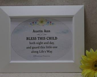 Baby Personalized Gift, Baptism Gift, Christian Baby Gift, Baby Blessing, Christening Gift, Newborn Gift, Religious Baby Gift, 5x7 framed