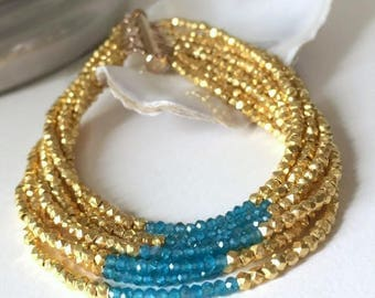 Wide Beaded Bracelet-Edgy Cuff-Sexy Jewelry For Her-Blue Summer Bracelet-Gold Sister Bracelet-Gold Gypsy Jewelry-Romantic Gift Wife-Bff Gift