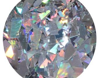 Broken CDs Body Glitter Pot - Chunky Body Glitter, Hair Glitter, Silver Holographic Shreds Flakes Glitter, Body Glitter, Hair Glitter,
