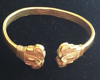 Egyptian Revival Art Deco Lotus Leaf Cuff Bracelet -Signed