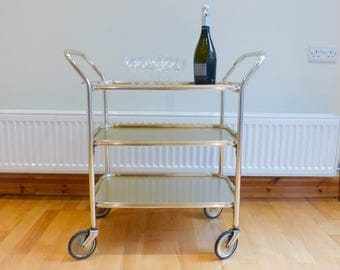 Drinks/ hostess trolley bar cart. Gold anodised metal, three tier, removable top tray. Kaymet/ Woodmet style. Ex Condition