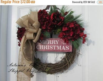 MERRY CHRISTMAS WREATH~ Rustic Christmas Decor ~Christmas Wreath , Farmhouse Style Wreath ~Rustic Door Wreath ~Country Inspired Door Wreath