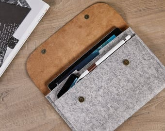 NEW iPad Pro 10.5 inch case iPad Pro 10.5 envelope case 100% Natural wool felt case Genuine Leather iPad case iPad Pro Apple iPad Leather