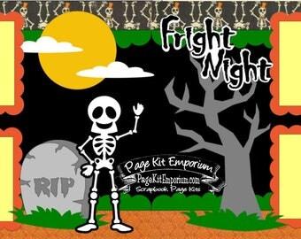 Scrapbook Page Kit Fall Halloween Fright Night Boy Girl 2 page Scrapbook Layout Kit 05