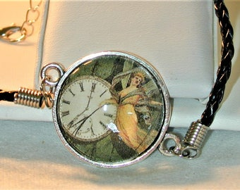 Steampunk Woman & Clock Cord Bracelet