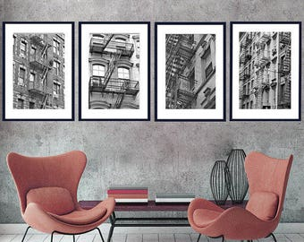 Black and white prints New York decor city apartment building fire escape, NY photos, set of 4 pictures nyc wall art prints 11x14, vertical