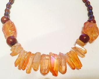 Sunset Passion* tangerine aura quartz crystal necklace
