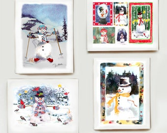 """Snowman Note Card Assortment  - Set of 8 watercolors - Two of each """"Frosty""""!"""