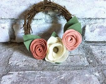 6 inch Blush Felt Flower Grapevine Wreath