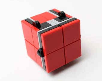 Red and Black Magic Folding Fidget Cube Built with LEGO Bricks