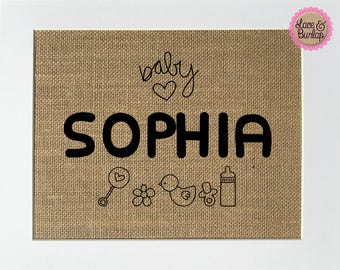 CUSTOM Baby Name - BURLAP SIGN 5x7 8x10 - Rustic Vintage/Home Decor/Nursery/Love House Sign
