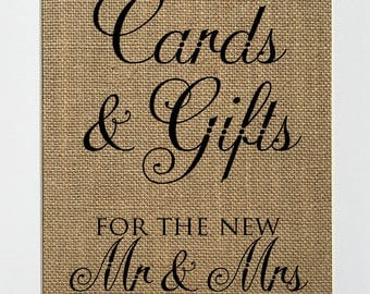 BURLAP SIGN - Cards & Gifts for the new Mr Mrs- Rustic Theme Burlap Sign Print 5x7 8x10 - wedding engagement gift shower decor newlyweds