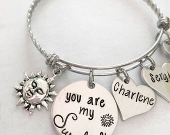 You are my Sunshine - Mother's bracelet - Hand stamped jewelry - You are my Sunshine jewelry - Bracelet with children's names - Sun jewelry