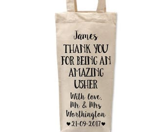 Best Man Gift | Best Man Bottle Bag |Thank You Usher |Personalised Bridal Party Bag |Personalised Bottle Bag |Bridal Party Gifts |Usher Gift