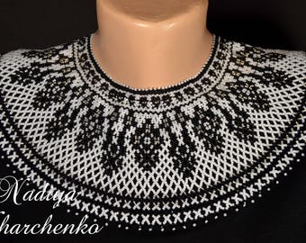 Black and white necklace, Beaded necklace, Seed beads necklace, Collar necklace, Gift for her, Holiday gifts, Handmade gift