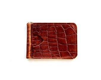 Slim & Simple money clip wallet in cognac leather