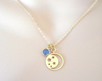 Dainty Celestial Necklace, Moon and Stars Necklace, Tiny Bohemian Pendant, Gold Layering Necklace, Gift for Her