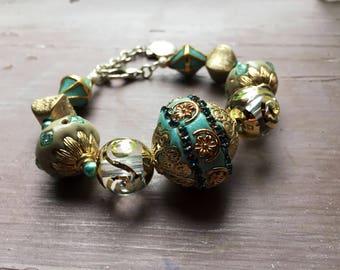 Baroque beaded bracelet, bohemian bracelet, statement jewellery, victorian bracelet, gift for her, uk seller, uk shop