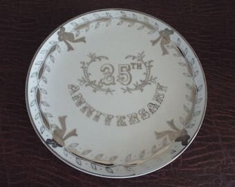 25th Wedding Anniversary Silver and White  Vintage Serving Platter Looks unused, Vintage LEFTON with Sticker