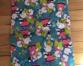 Vintage 1960s Neon Pigs Canvas Fabric Remnant!
