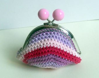 wallet - Pink - Purple - girly - Valentine's day - crochet - girl