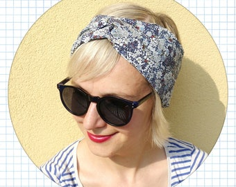 cotton headband , women cotton turban, intersect headband, cotton hair band, summer headband, blue floral headband