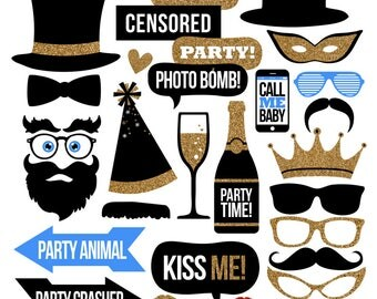 Party Photo Booth Props Collection - Printable Instant Download with BONUS DIY Blank Speech Bubbles - Party Decor - Digital Party Props