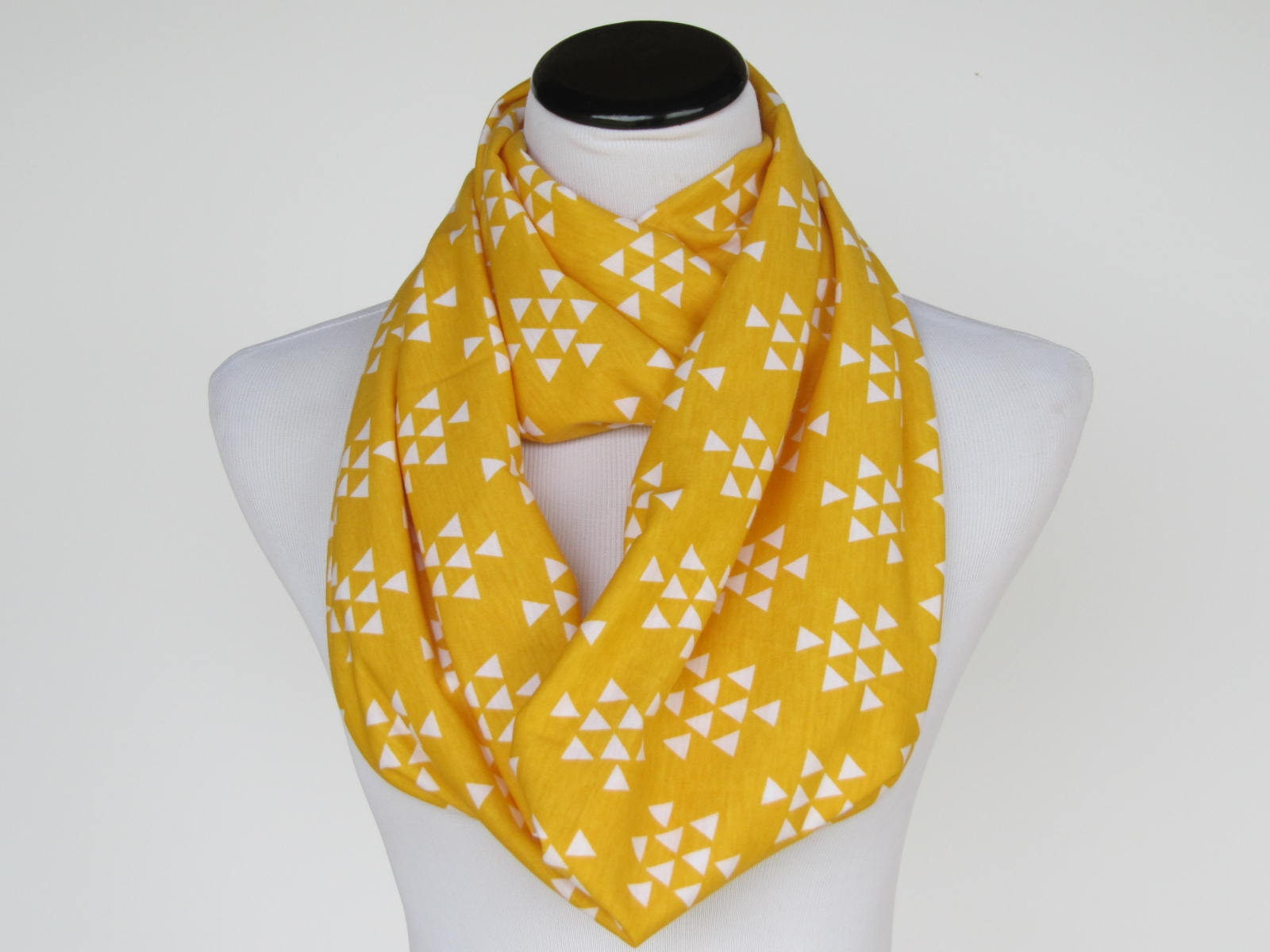 Infinity scarf yellow scarf, autumn color scarf soft jersey knit ...
