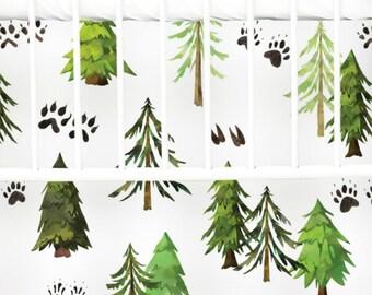 Woodland Trees Flat Panel Skirt | Woodland, Trees, Green, Modern, Flat Panel Crib Skirt | Woodland Inspired Crib Set | Woodland Nursery