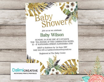 Gold Baby Shower Invitation - Faux Glitter Floral Shower Invitation - Printable Invitation - Unisex Baby Shower - Gold and Green Invitation!